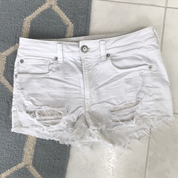 faa02b1b4f American Eagle Outfitters Shorts   White Ripped American Eagle Jean ...
